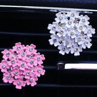 2 pcs Alloy Crystal Flower Car Decal Accessories Car Vent Clip