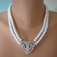 Art Deco Jewelry, Great Gatsby, Pearl Necklace, Pearl Jewelry, Mother of the Bride, Wedding Necklace, Bridal Jewelry, Sphinx