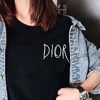 DIOR Classic Women Men Casual Letter Print Round Collar T-Shirt Top Blouse