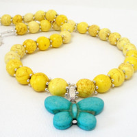Blue Turquoise Howlite gemstone Butterfly with Yellow Beads Necklace, Summer Bright Yellow Beaded Gemstone Butterfly Necklace,