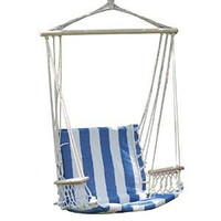 Naval-Style Cotton Fabric Canvas Hammock Tree Hanging Suspended Outdoor Indoor Chair Naval/ White and Blue Color 17 inches Wide Seat