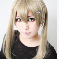 Soul Eater Maka Albarn 50cm long straight sand blonde twin tails cosplay wig