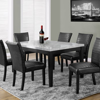 """Dining Chair - 2Pcs / 38""""H / Black Leather-Look Fabric"""