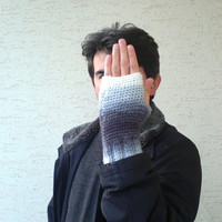 Knitted mens mitten, mens fingerless glovesin gray and white shades, Winter 2013, mens fashion, christmas gift , valentines, gift for him