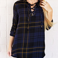 For Any Occasion Plaid Tunic-Navy/Olive