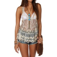Sale-crochet Mesh Tank Top
