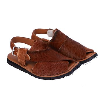 Coronado Brown Color Cow Hair Tan Waxed Shaded Mens Leather Anti Slip Tire Sole Fisherman Sandal With Memory Foam Insole
