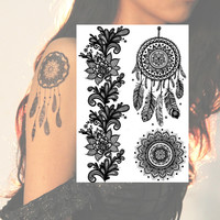 6pcs Henna Black Lace Temporary Tattoos Bohohemian Tribal Tatts