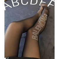 Balenciaga Crystal Logo Tights - Black