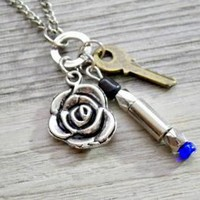 Doctor Who rose with blue sonic screwdriver and key pendant necklace by vintagehomage on Zibbet