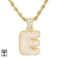 """Jewelry Kay style Custom Bubble Letter E Initial Gold Plated Iced CZ Pendant 24"""" Chain Necklace"""