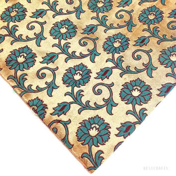 Teal and Gold Floral Pattern Brocade / Banaras Silk Fabric - Half Yard Silk Fabric