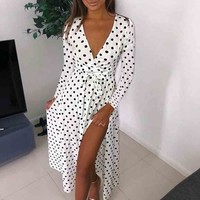 Polka dot summer dress long V neck knotted long sleeve white maxi dress women Streetwear sash beach casual dress 2019