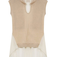 Khaki Knitted Tie Back Short Front Sleeveless Ruffled Blouse