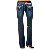 Miss Me Women's Stars and Stripes Boot Cut Jeans