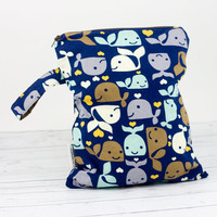 Cloth Diaper Wet Bag, Whales Wet Bag, Wet Swimsuit Bag, Waterproof Zipper Wet Bag, Baby Boy Wet Bag, Wet Bikini Bag, Cloth Diaper Wetbag
