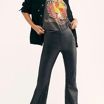 Free People Penny Pull On Flared Faux Leather Pants