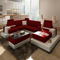 Luxury Contemporary U Shape Sofa Modular Sectional Leather Lounge