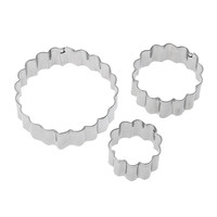 3pcs/set Carnation Flower Mold Fondant Cookie Cutter Stainless Steel Cooking Tools Cake Mold