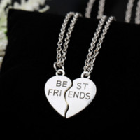 Choker necklace heart pendant best friends women necklace