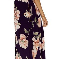 HDY Haoduoyi Womens Summer Deep V Floral Print Backless Split Tie Maxi Dress Sexy Party Loose Thin Girl Dresses