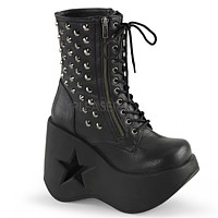 "Dynamite 100 Black Studded 5"" Star Wedge Ankle Boot"