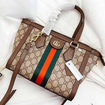 GUCCI New fashion stripe more letter leather shoulder bag crossbody bag handbag