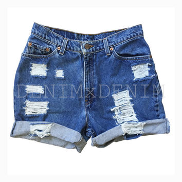 Women's Charger Distressed Rolled Denim Jean Shorts High Waisted Low Rise Grunge Ripped Shredded Boho Loose Boyfriend