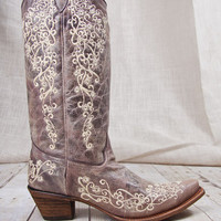 Corral Boots® Brown Crater Bone Embroidery