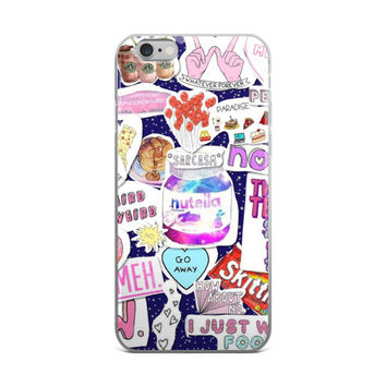Nutella In Space Skittles What Ever Hands Starbucks Coffee Girl Code Collage Teen Cute Girly Girls Blue Night Sky iPhone 4 4s 5 5s 5C 6 6s 6 Plus 6s Plus 7 & 7 Plus Case