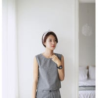 [Home] pineapple fashion gray linen suit
