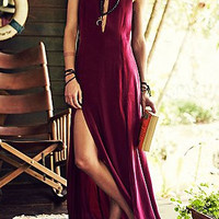Burgundy Sleeveless Double Slit Maxi Dress