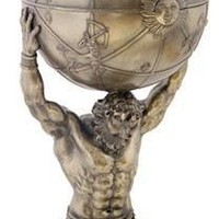 Atlas Kneeling with World on His Shoulders Statue Bronze Finish Grande 25.5H