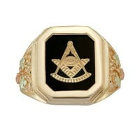 Black Hills Gold Tri-Tone Onyx Masonic Ring - Men