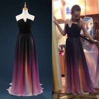 Fast Shipping 2016 New Arrival Long Gradient Color Chiffon Prom Dresses Long Evening Party Dress