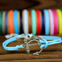Anchor - anchor bracelet in copper and silver,16 kinds of color in wax rope, accept wholesale