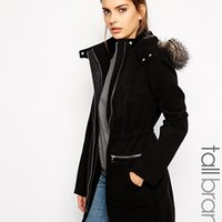 New Look Tall Wool Parka With Leather Look Trims