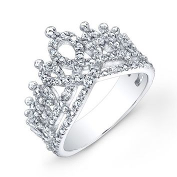 Victoria Kay 1/6ct White Diamond Crown Ring in Sterling Silver, Size 6.5