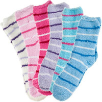 6 pack of Fluffy Cozy Fuzzy Socks - Pin Stripe