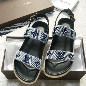 LV Slipper Women Sandals ''Louis Vuitton'' Slippers LV Fashionable casual Shoes Embroidery Print Blue
