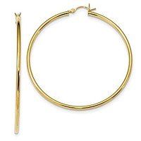 Sterling Silver Yellow Gold Plated 55mm x 2mm Hoop Earrings