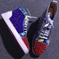 Cl Christian Louboutin Louis Spikes Style #1886 Sneakers Fashion Shoes - Best Deal Online