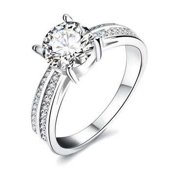 Romantica White Gold Plated Ring