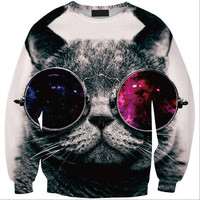 Womens Mens 3D Print Realistic Space Galaxy Animals Hoodie Sweatshirt Top Jumper Glasses cat SWS0207