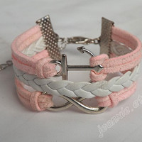 Infinite bracelet with anchor -  white and pink combination bracelet J-107