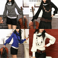 NEW Womens long sleeve casual knit sweaters high neck pullover jumpers(Blue/Grey/White/Black,Size S-XL) = 1958022980