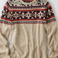 AEO Southwestern Crew Sweater , Grey | American Eagle Outfitters