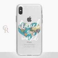 Travel Clear Phone Case - Clear Case - For iPhone 8 - iPhone X - iPhone 7 Plus - iPhone 6 - iPhone 6S - iPhone SE Transparent Wanderlust
