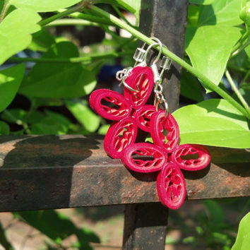 Red Flower Earrings Eco Friendly Paper Quilled Earrings - quilling paper jewelry, flower earrings, red daisies, daisy earrings, jewellery