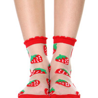 STRAWBERRIES SEE THRU SOCKS